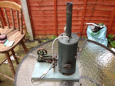 Rare Antique Upright German? Large Boiler With a Vintage Stuart 10 Steam Engine
