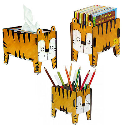 Tiger Set 3er Werkhaus Kinderzimmer Schulanfang Tissue Box Stiftebox #3771 ◕‿◕