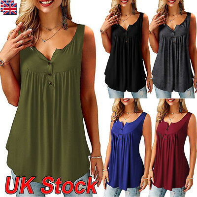 UK Womens Casual Sleeveless Vest Blouse Ladies Loose T-shirt Tops Plus Size 6-24