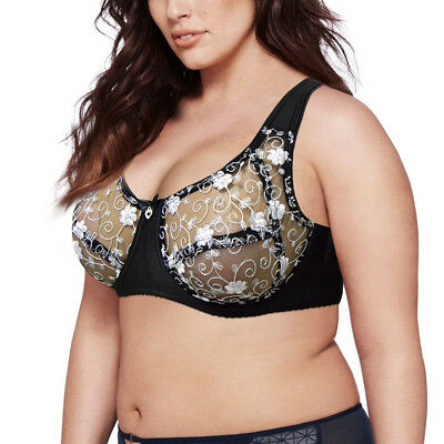 Women Plus Size Lace Underwired Large Bosom Sheer See through Bra Lingerie