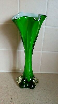 Murano Style Italian Art Glass Vase Green white twisted frilled