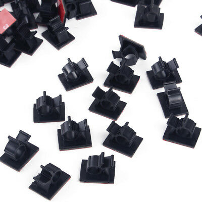 50pcs Self Adhesive Adjustable 10mm Wire Cable Ties Clamps Sticker Clips Holder