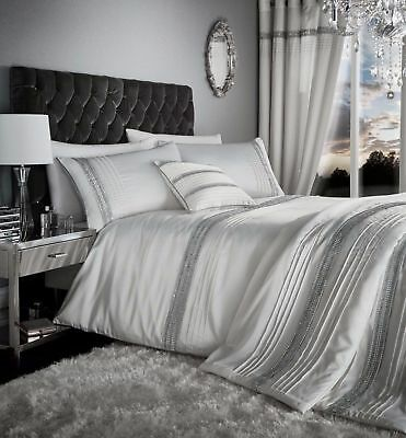 Catherine Lansfield Diamante Bands Duvet Cover Pearl White Luxury Bedding Set