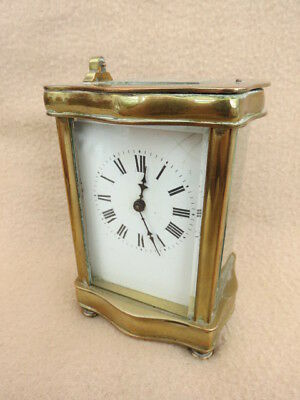 Antique French Brass 8 Day Carriage Clock For Spares Or Repair