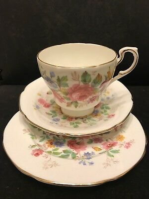 Gorgeous Paragon Bone China Floral Bouquet Trio Cup Saucer Plate