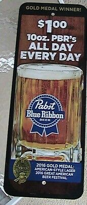 Pabst Blue Ribbon Beer Metal Sign /  $1 PBR All Day Every Day