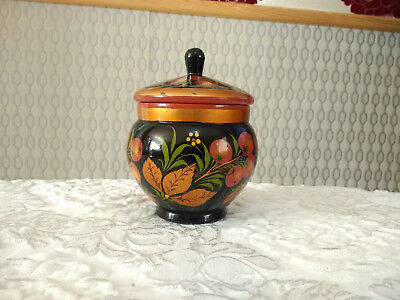 Vintage Russian Wood Sugar Bowl Hand Crafted & Painted With Lid
