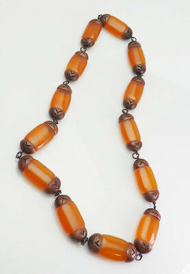 Rare large antique hand made pressed Baltiic amber and carved wood necklace