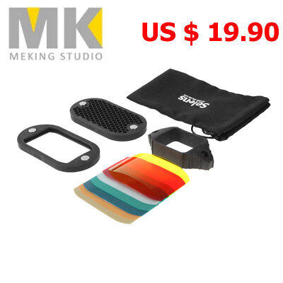 Selens Magnetic Color Filter Honeycomb Grid Spot Grip Kit For Flash Speedlite