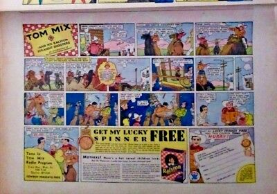Tom Mix Premium Ad oversize comic page Lucky Spinner Jan 1934