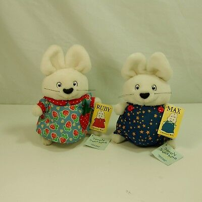 "Max & Ruby by Rosemary Wells Plush Stuffed Dolls Animal 9"" 1997 Eden New w/ Tag"