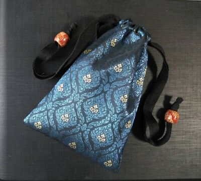 Handmade Thai Blue Silk Tarot Pouch Bag Dice Pouch Jewelry Bag With Drawstring