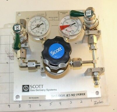 Scott Gas Delivery Regulator Panel,  3-Valve 2-Gauge Stainless 100 PSI Max
