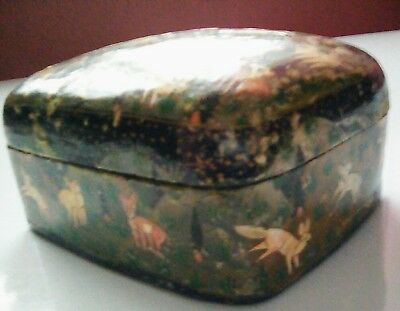 Antique Eastern Lacquer Box (circa mid 1800's) 2 Shepard's warding off tigers