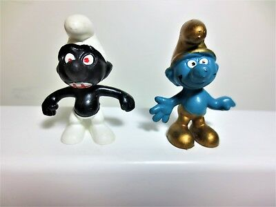 Lot of 2 hard to find smurf not often offered LOOK Black red eyes/mouth and Gold