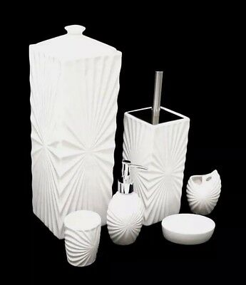 6 Piece Ceramic Bathroom Accessories Set Toothbrush Holder Soap Dispenser Toilet
