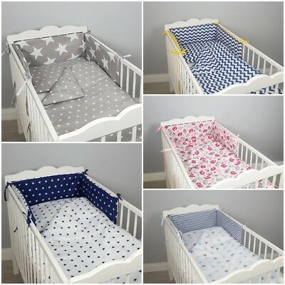 REVERSIBLE BUMPER for cot/cot bed double-sided filled padded grey pink stars