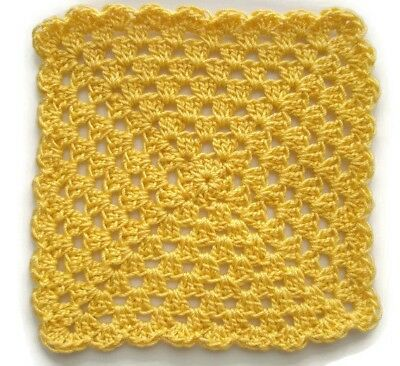 Miniature Dollhouse Yellow Crochet Granny Square Baby Blanket 3.75""