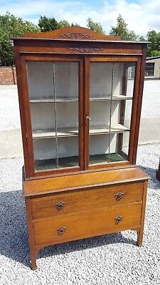 Vintage Oak Chest of Drawers with Glass Display Cabinet to Top