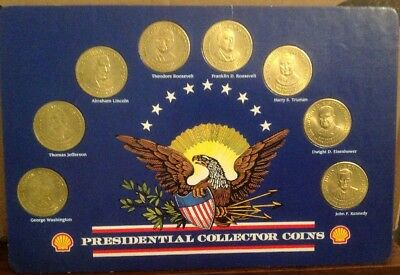 1992 Shell Oil Presidential Collector Bronze Coin Set of 8 NR MINT MSRP $29.95