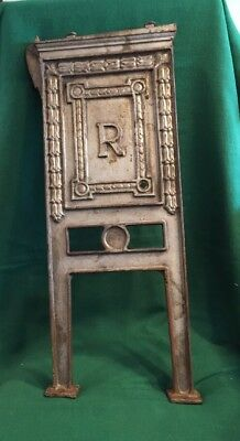 """Antique Ornate Victorian Inscribed """"R"""" Cast Iron Theater Seat End Side Panel"""