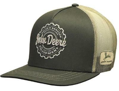 John Deere Mens High Profile Olive Green Trucker Beige Mesh back Hat  13080461 e33c7c28dfab