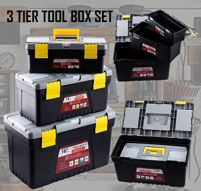 3 Piece Tier Plastic Tool Box Set DIY Compartment Storage Tools With Handle And