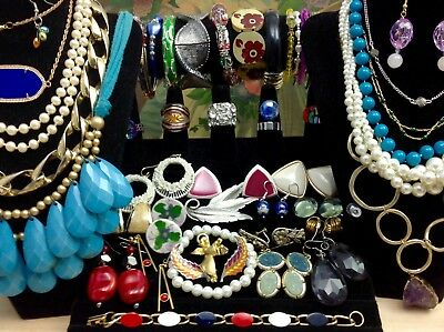 Large Lot Of Vintage~Now Costume Jewelry Earrings, Bracelets, Brooches... (E136)