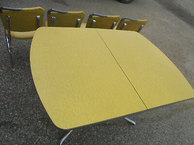 Yellow Formica And Chrome Kitchen Table & Four Chairs + Leaf