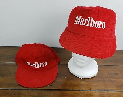 Vintage Marlboro Cigarettes Red White Corduroy Trucker Hat Snapback Cap Lot  Of 2 d5a75b93604
