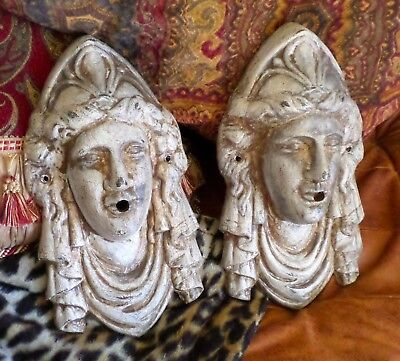 Antique Victorian Lady Liberty Neoclassical Fountain Heads Architectural Salvage