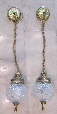 Pair of Vintage Chain Pendant Lights Brass Finial Cut Glass Globes Union Made
