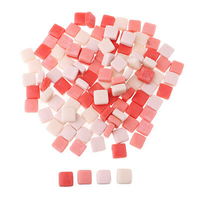 110x Mixed Pink Square Glass Mosaic Tiles Vitreous for Art DIY Craft 12x12mm