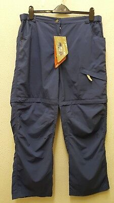 Trespass Blue Ladies DuoSkin Zip off Trousers XL, UV protect, HIking Lightweight