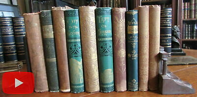 Old Children's Books 19th century collection x 10 illustrated gilt cloth Alcott