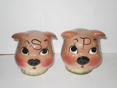 Vintage Pink Pigs Salt N Pepper Shakers  1950's
