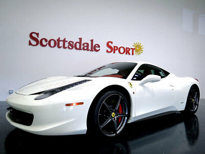 Ferrari 458 ITALIA * ONLY 7,410 Miles...Rosso Hides! 2012 458 ITALIA w 7K MILES, BIANCO on ROSSO, WHLS, SHIELDS, CALIPERS, CARBON FBR