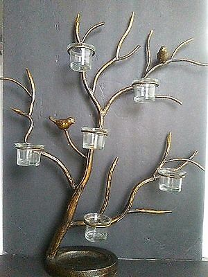 Centerpiece Large 6 Votive Candle Holders w/ Birds Branches Bronze Color 21x24