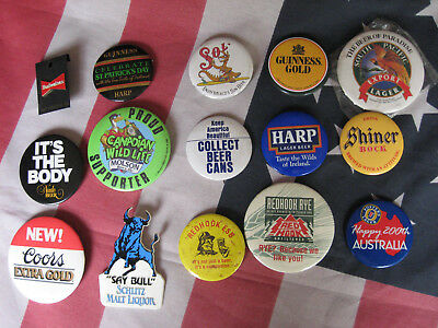 LOT of 15 OLD BEER PINS BUTTONS BADGES: NUDE, REDHOOK RYE, SCHLITZ, SHINER++