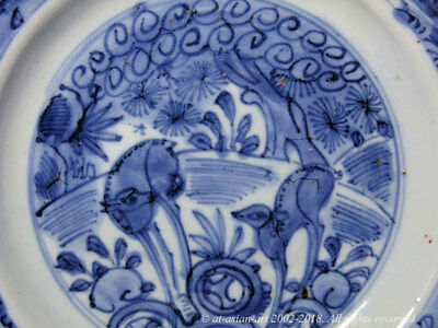 A Fine Late Ming Blue & White Jingdezhen Export Dish With Deer & Pine 16th/17th