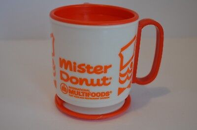 Vintage Mister Donut Whirley Travel Mug with Lid, Adhesive Stand
