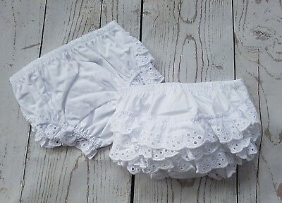 baby babies girls frilly knickers pants 100% cotton white frills frill 0-6-12-18