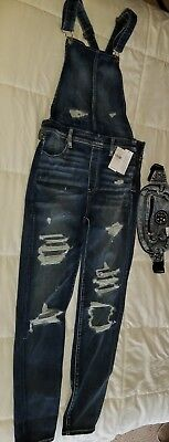 b4e76d1dcb American Eagle Womens AE DENIM X JEGGING OVERALLS Medium Destroy Size 10 New