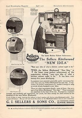1916 Sellers And Hoosier Kitchen Cabinet Ads