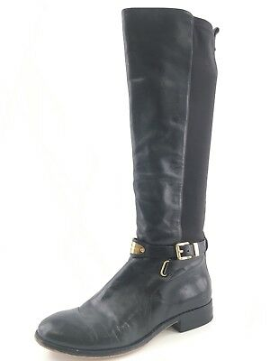 37ae8192032e Michael Kors Arley Black Leather Knee High Riding Boots Womens Size 8 M
