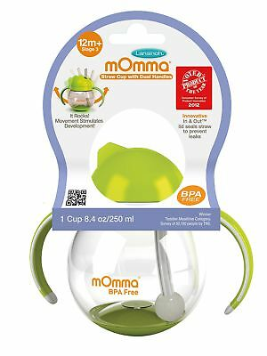 Lansinoh mOmma Straw Cup with Dual Handles Green Safe and Hygienic