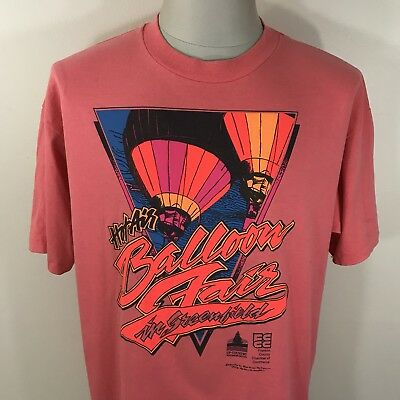 VTG 90s Hot Air Balloon Festival Fair T Shirt Men's XL Greenfield MA 80s Tee