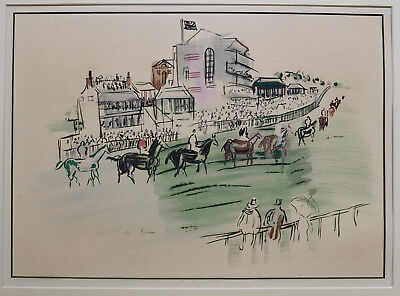 "RAOUL DUFY - 1930's ""Epsom"" Original Silk Screen with Hand Coloring - RARE"