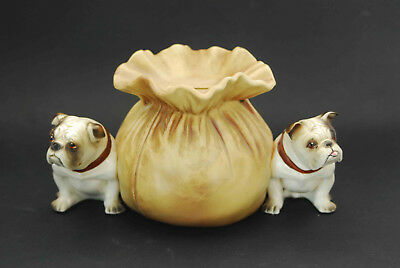 Vintage Ceramic Piggy Bank Still Double Bulldog Bag Of Cash Japan Figural Dog