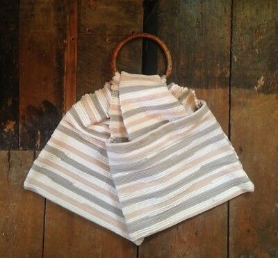 Boho vintage 70's look wicker woven material cream blue stripe shopper tote bag